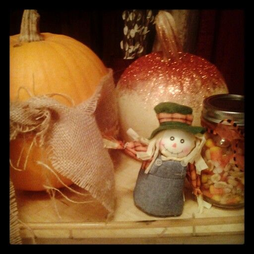 Fall decorations on our coffee table