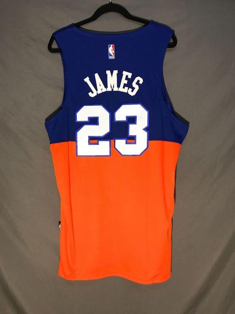 Men s 23 Lebron James Jersey Blue Orange Cleveland Cavaliers Fanatics  Swingman fa2d66136