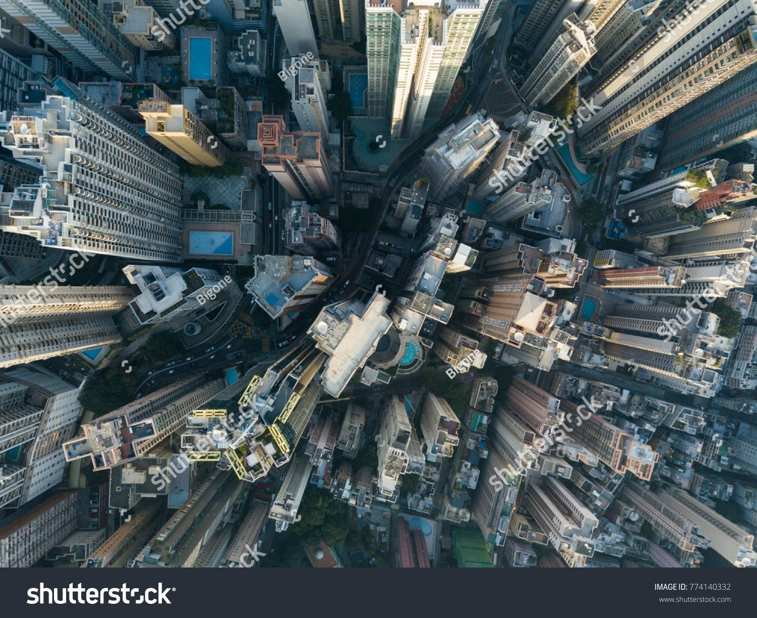 Top View Of Building In A City Aerial View Skyscrapers Flying By Drone Of Hong Kong City With Development Buildings Transportation Ene Top View Aerial City