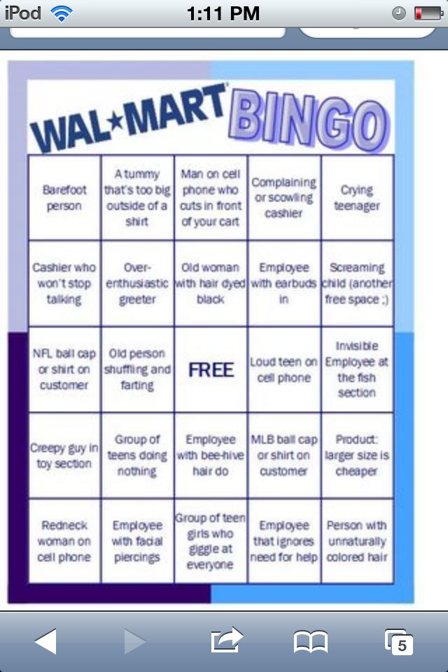 Walmart Bingo To Play Go To Walmart And Scratch Off Everything You See There On This List