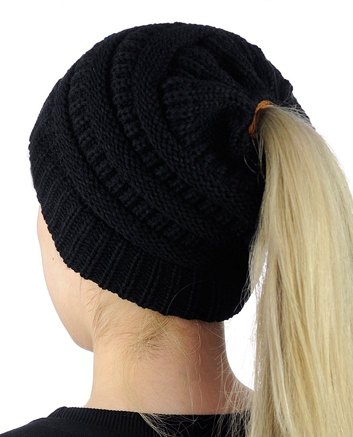 BeanieTail Womens Ponytail Knit Messy High Bun Beanie Solid Ribbed ... 71560edb4dad