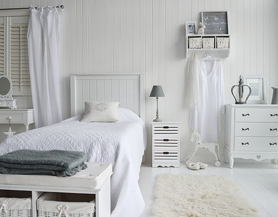 Decorate your bedroom with white furniture, New England dressing table,  storage seat, bedside