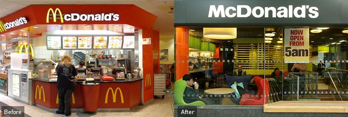 Image Positioning Mcdonald S Have Re Invented Themselves By Refurbishing Their Franchises Worldwide Of Mcdonalds Comfortable Seating Fast Food Franchise