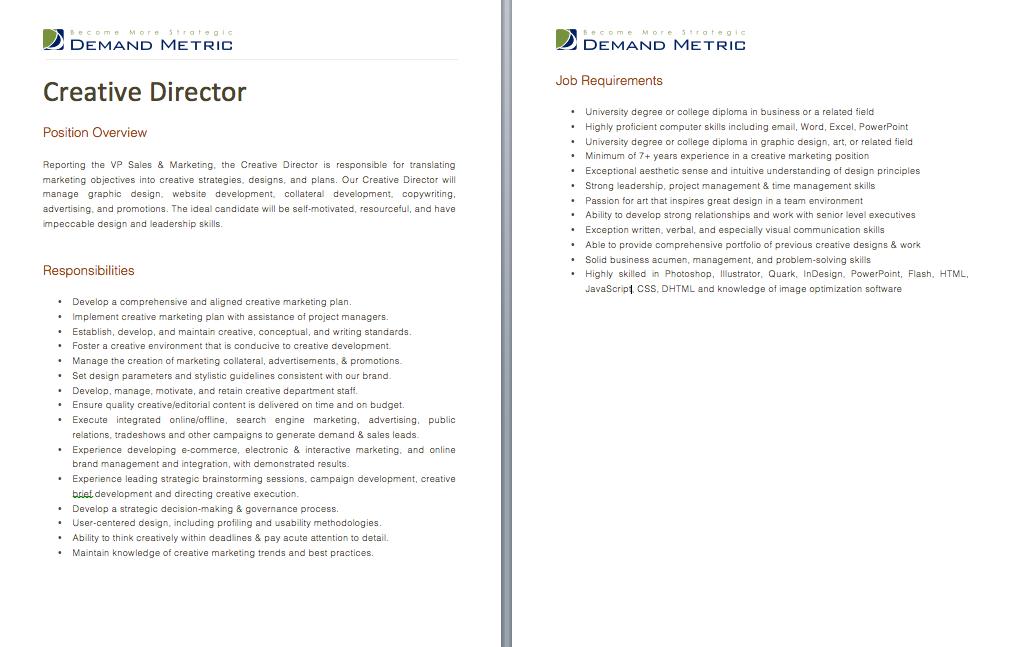Creative Director Job Description A template to quickly