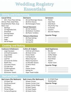Crafting the perfect bridal registry wedding registry checklist crafting the perfect bridal registry wedding registry checklist junglespirit Images
