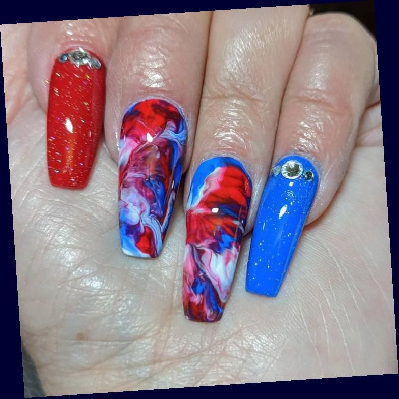 Amazon Com Coffin Nails Amazon Com Coffin Nails In 2020 July 4th Nails Designs Blue Acrylic Nails July Nails