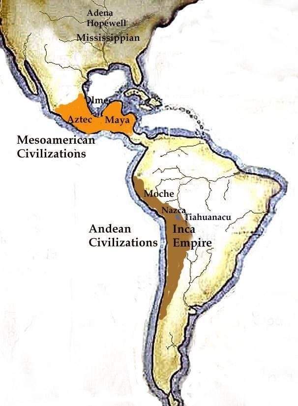 Map Of The Primary Pre Columbian Civilizations 508 Global