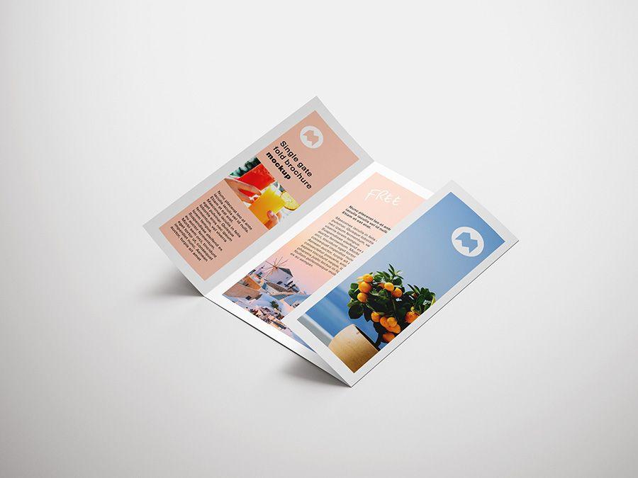 Free Single Gate Fold Brochure Mockup Mockups Design Free Premium Mockups Brochure Pamphlet Design Brochure Mockup Free