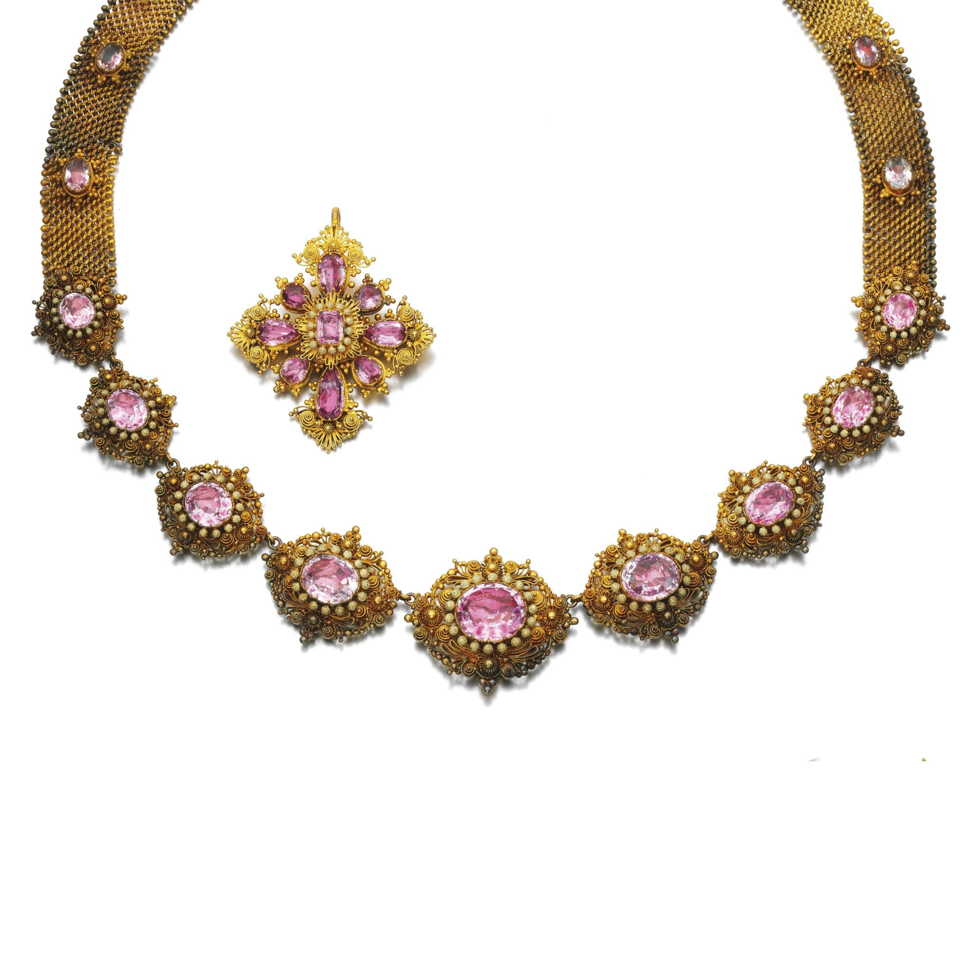 Gold and topaz necklace and broochpendant early th century