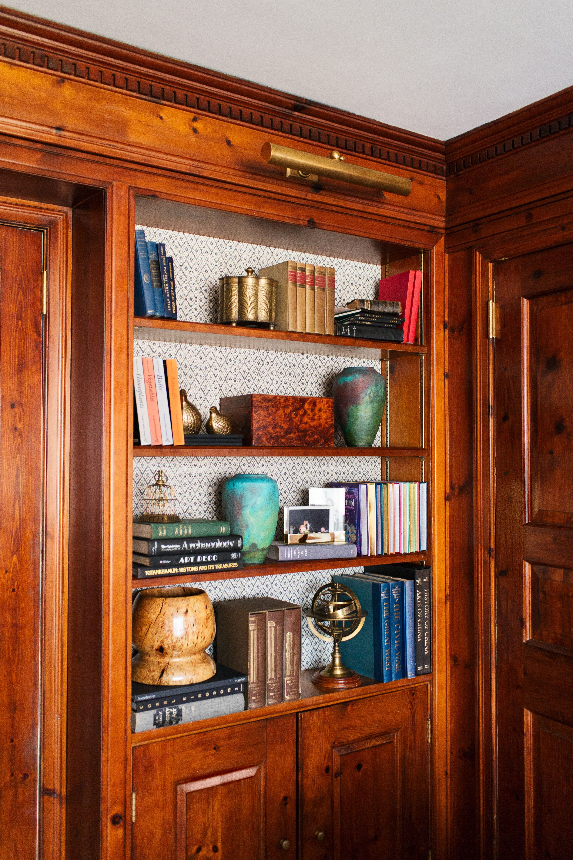 Wood Paneled Library: Library // Wood Paneled Walls // Bookshelf // Vases