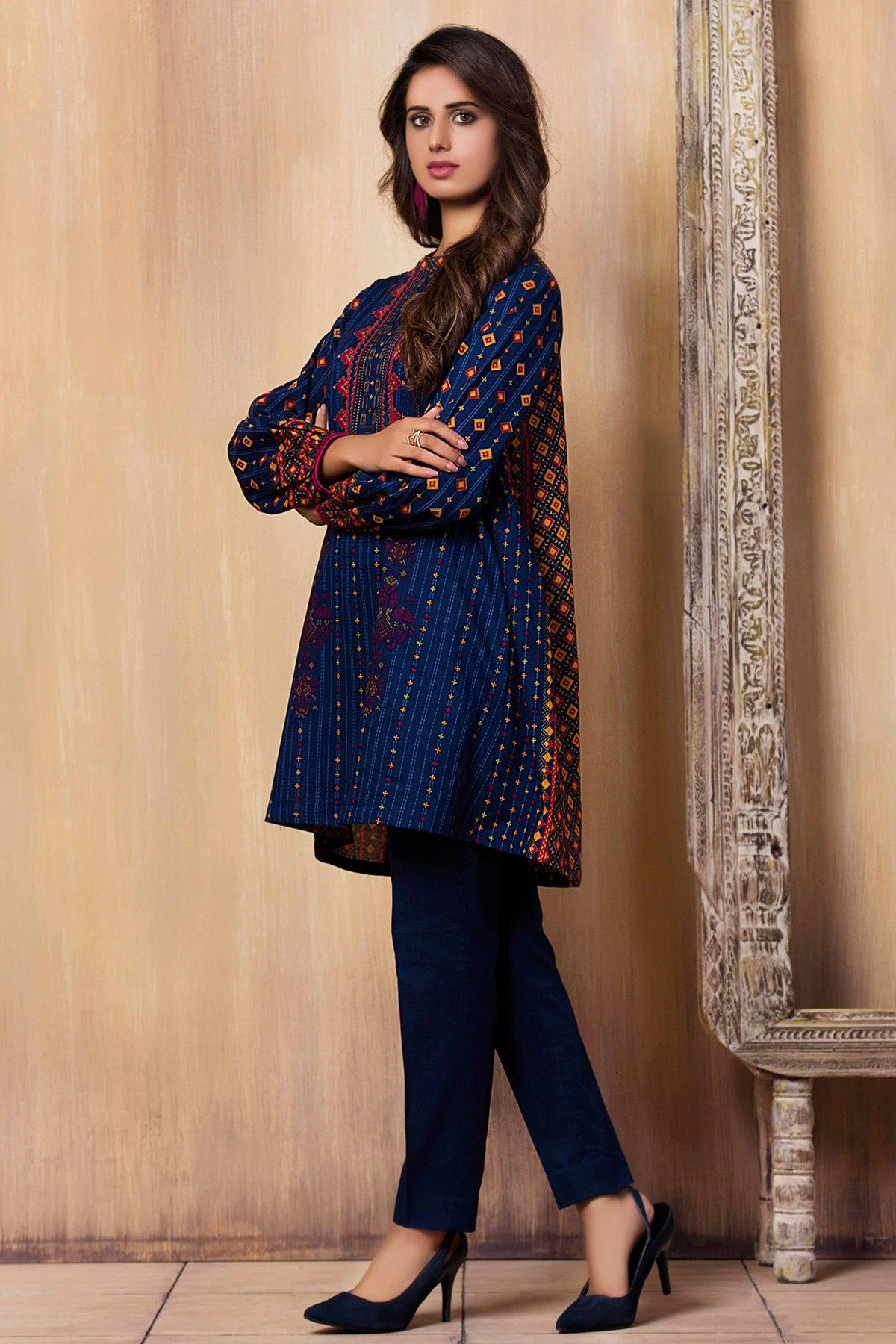 Beautifully printed blue unstitched pret wear By Kayseria