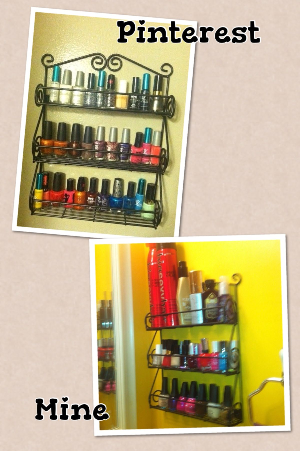 Spice Rack Turned Into Nail Polishhair Products Organizer