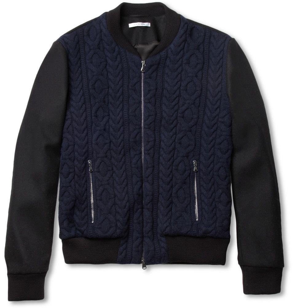 CarvenCable-Knit Wool Bomber Jacket|MR PORTER