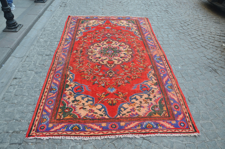 Anatolian Bohemian Rug Turkish Handmade Area Red With Flower Patterns Boho 265 Cm X 157 8 6 Ft 5 1 Model 871 By Oushakrugs On