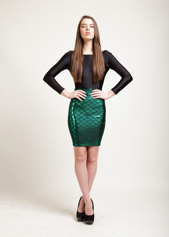 fc21983a Ariel Green Mermaid Bodycon Pencil Skirt in Metallic Holographic Sparkles  on Etsy, $45.00