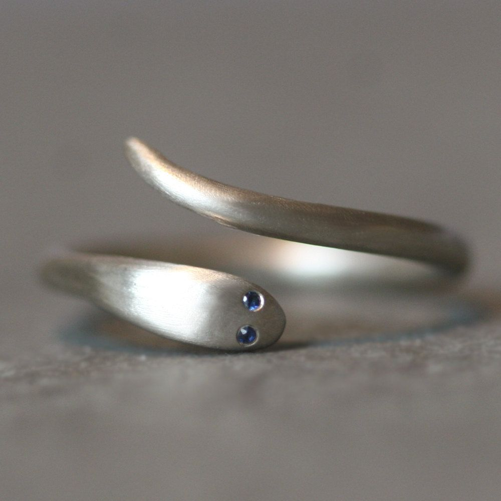 Baby Snake Ring in 14K White Gold with Blue Sapphires. $524,00, via Etsy.
