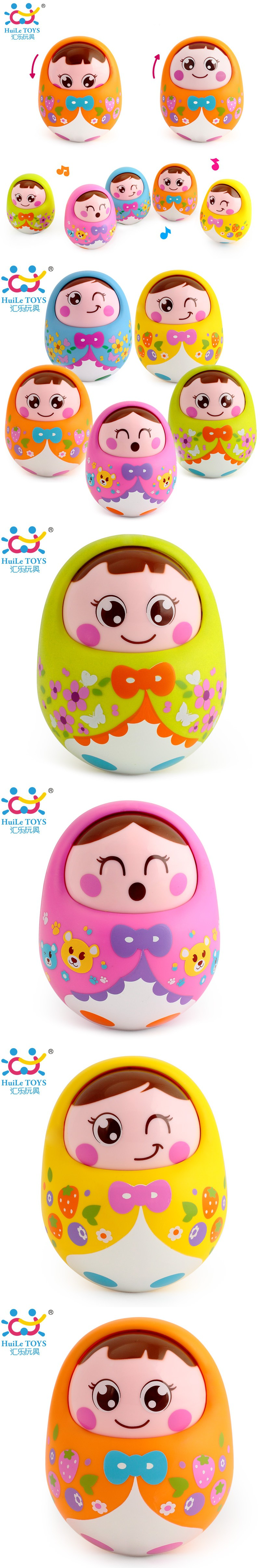 Kids Musical Nevalyashka Tumbler Toy Infant Cartoon Doll Roly poly
