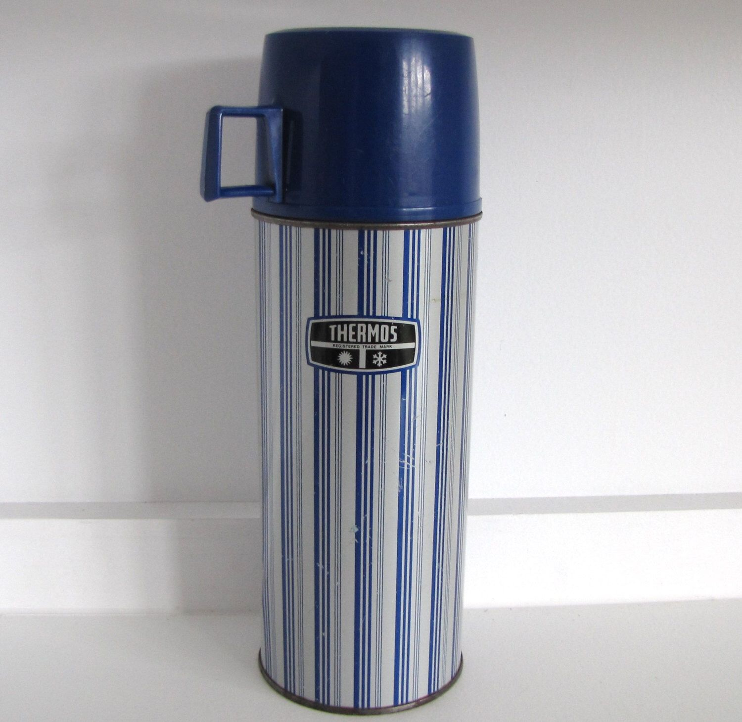 Vintage Blue and White Striped Metal Thermos Flask Picnic Beach Seaside Camping by CaravanVintageRetro on Etsy https://www.etsy.com/listing/278869390/vintage-blue-and-white-striped-metal