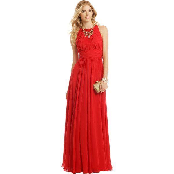 Rental Badgley Mischka Ruby Red Gala Gown ($70) ❤ liked on Polyvore ...