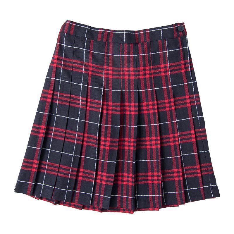 Girls 4-16 Chaps School Uniform Plaid Skirt, Size: 6X, Dark Red