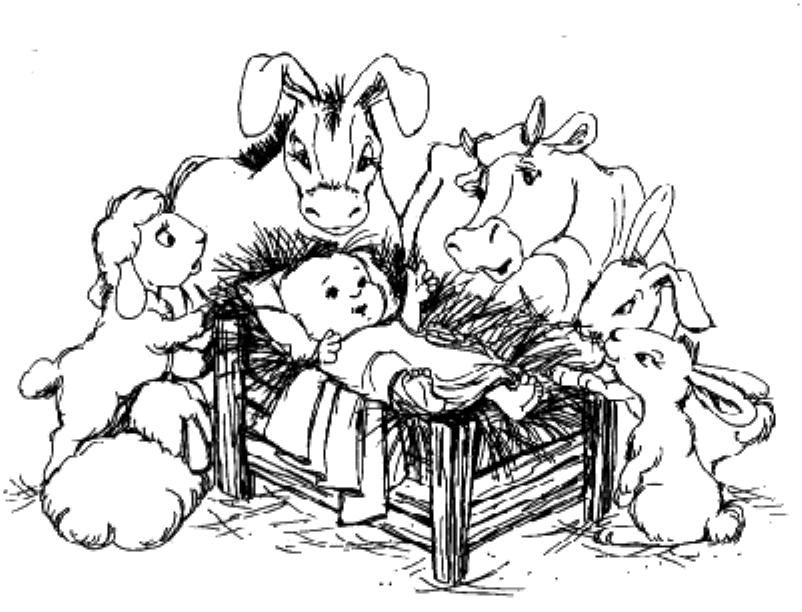 Christmas jesus manger animals coloring pages for Jesus in the manger coloring page