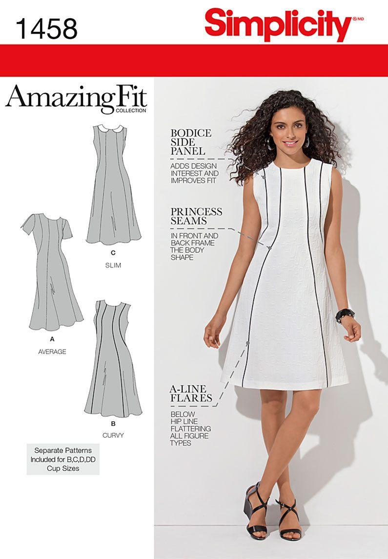 Simplicity 1458 Misses\' & Plus Size Amazing Fit Dress | Kleidung ...