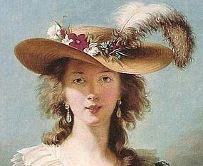 18th century lady in floral bonnet