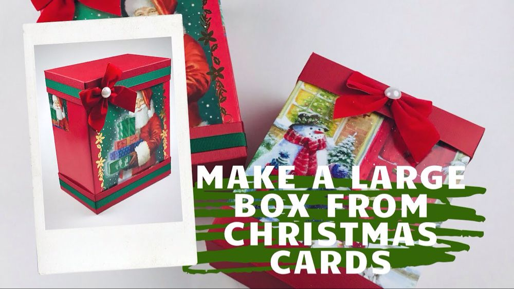 Large Gift Box Made With Two Dollar Tree Christmas Cards Make Six Boxes From One Box Of Cards You Fun Fold Cards Christmas Cards Dollar Tree Christmas