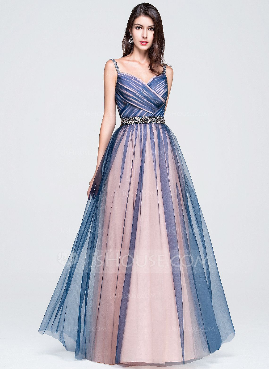 d7c840341d6 A-Line Princess Sweetheart Floor-Length Tulle Prom Dress With Ruffle  Beading Sequins (018070395) - JJsHouse