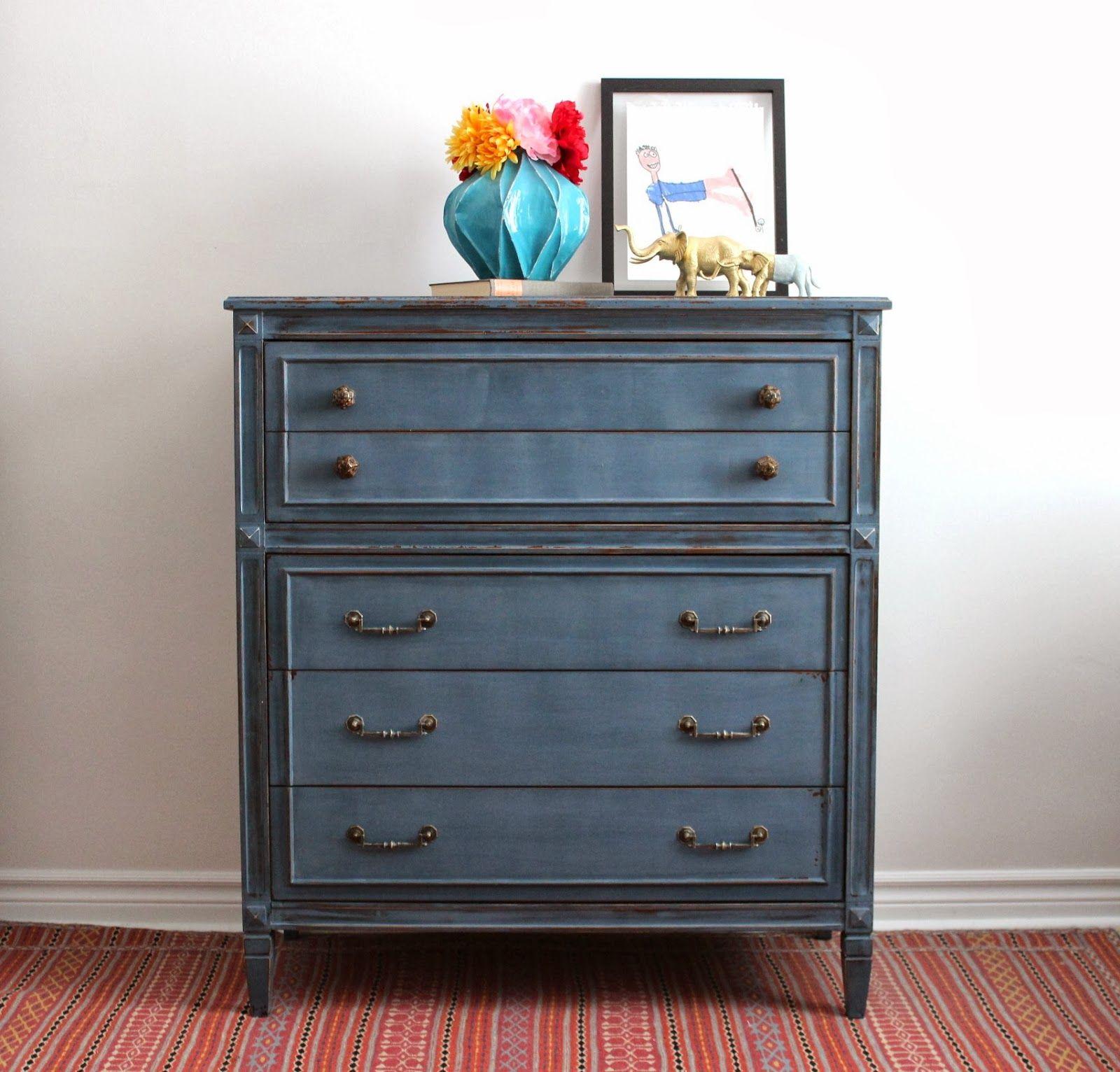 Deep Blue Tall Boy Dresser