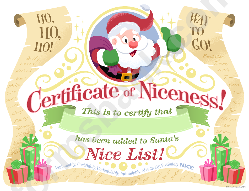 Free Printable Santa Certificate Of Niceness Template For