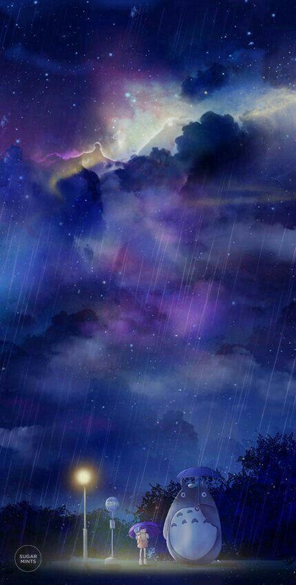 My Neighbor Totoro Raining Umbrella Bus Stop Starry Sky Night