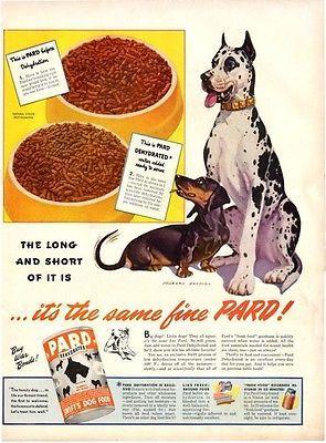 1944 Pard Dog Food Great Dane Dachshund Print Ad Great Dane