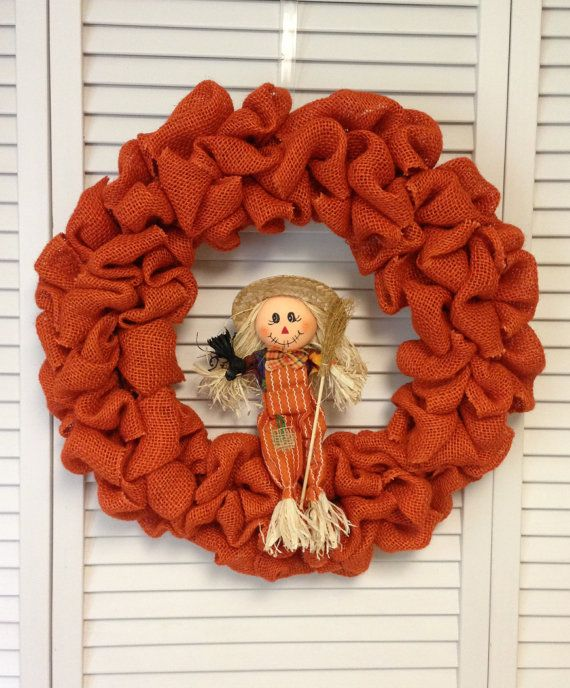 18 Fall Orange Burlap Wreath with by ContemporaryCrafting on Etsy, $47.00