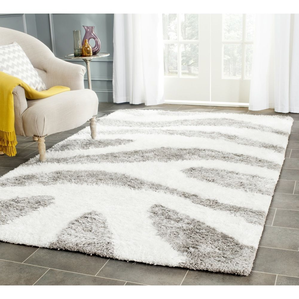 Safavieh Handmade Barcelona White Silver Polyester Rug 8 X 10 Ping Great Deals On 7x9 10x14 Rugs