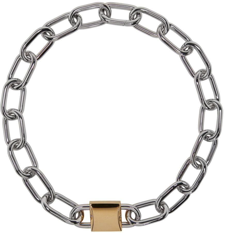 Alexander Wang Silver Gold Double Lock Necklace Accesorios