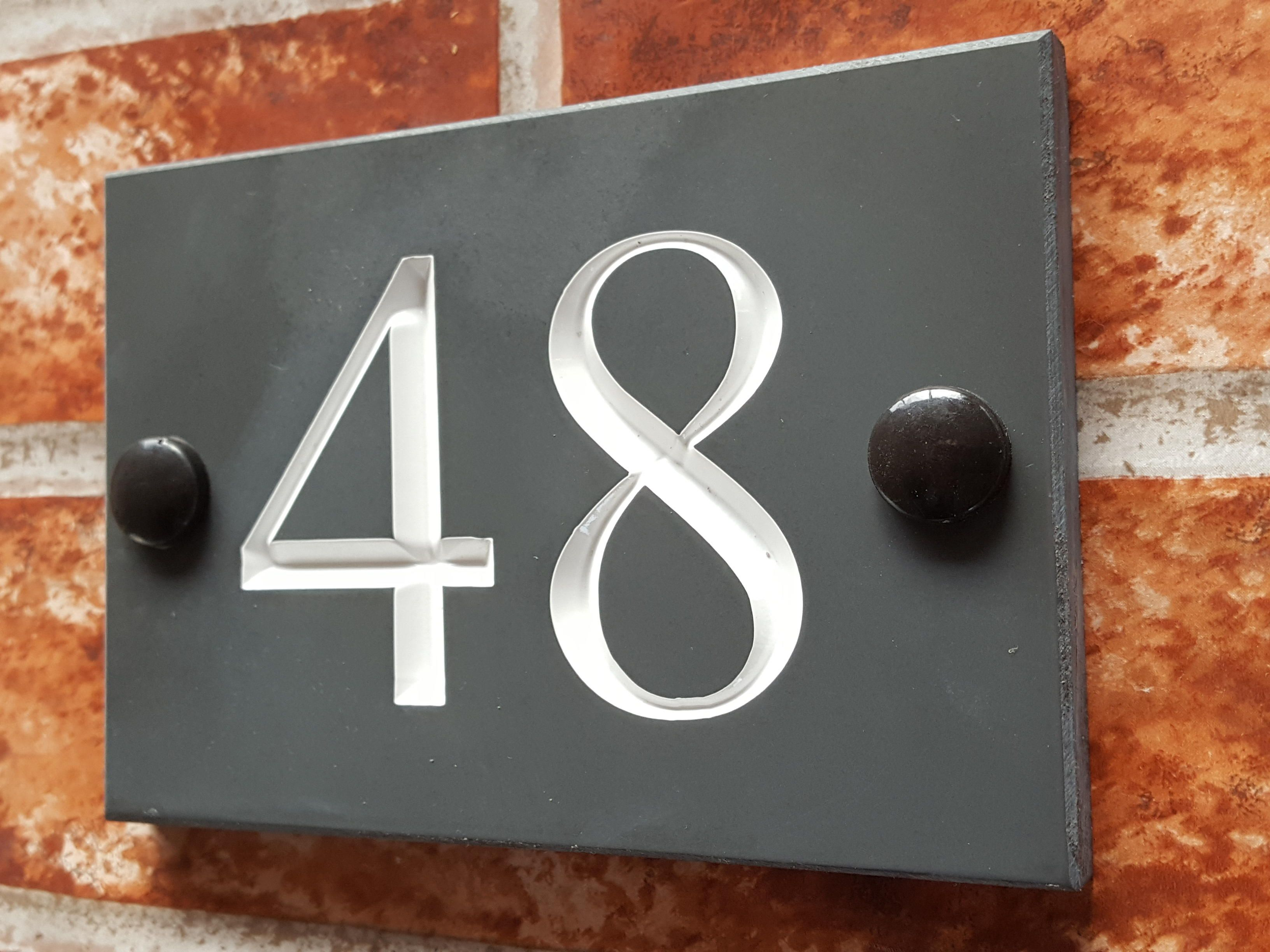 cfdac6561103 Deep v-carve engraved house number plaque at a budget priceAffordable engraved  slate house numbers. Available in Times Roman font with a white inlay.