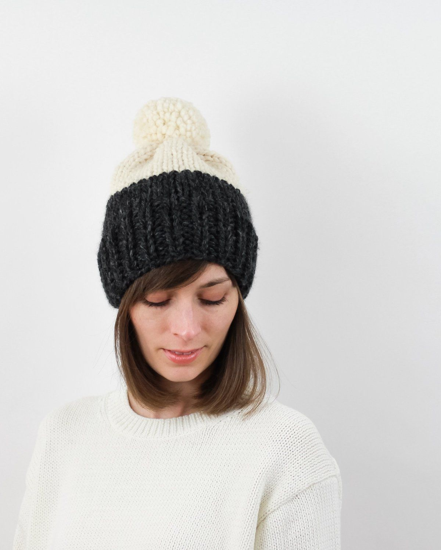 dd3b97579f9 Easy two-tone hat pattern. Chunky pom-pom hat by Forefolk. Modern knitting  pattern. Weight 6