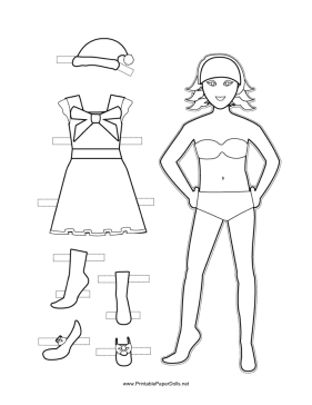 This free, printable Christmas Paper Doll has layered hair ...