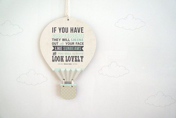 Wall Hanging Quote For Hot Air Balloon Themed Nursery Or
