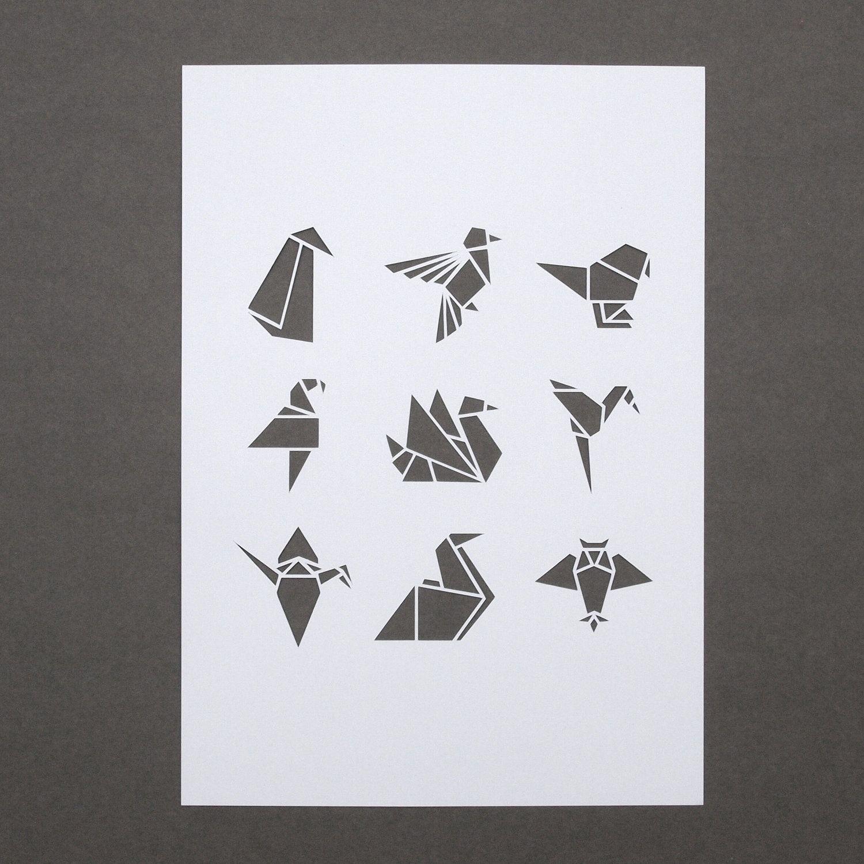 White Origami Bird A4 Papercut Affiches Dessin Origami Origami