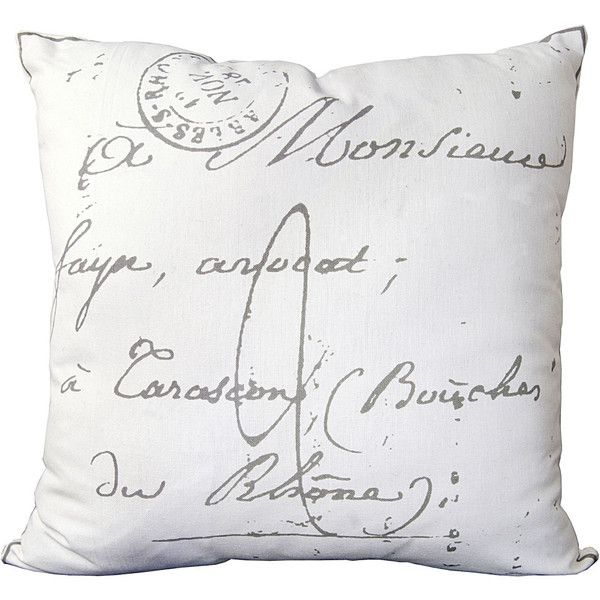 Surya French Script Pillow 40 Liked On Polyvore Featuring Home Adorable French Pillows Home Decor
