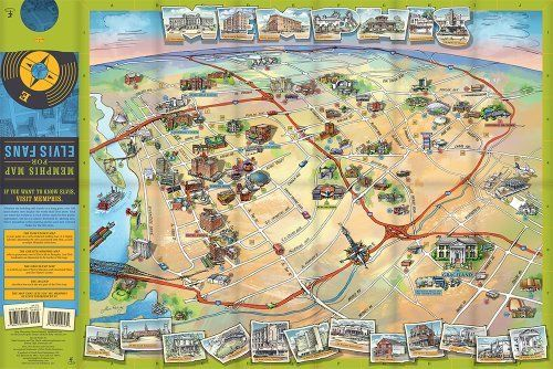 The Full Map Side One Fun Facts Downtown Memphis And Graceland: Map Of America Graceland At Usa Maps