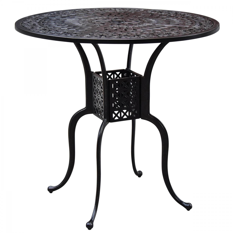 villa flora 42 inch round cast aluminum patio bar table by