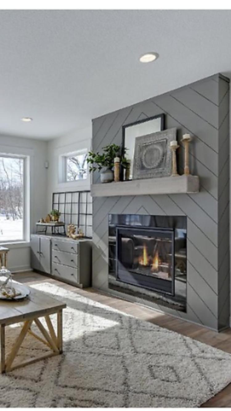 Future Fireplace Love The Herringbone Shiplap On This Fireplace Home Fireplace Farmhouse Fireplace Fireplace Design