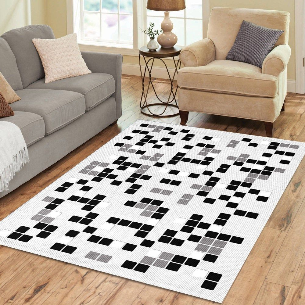 Modern Geometric Area Rug Black White And Gray Bold Abstract