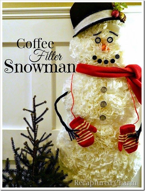 How To Make A Snowman Using Coffee Filters Coffee Filter Snowman