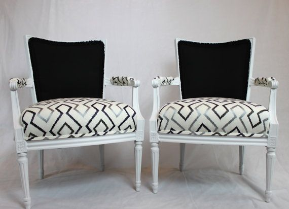 Sold   Vibrant Fish And Modern Geometric Fabric Grey Black White Pair Of  French Louis Vintage Arm Chairs With Square Backs