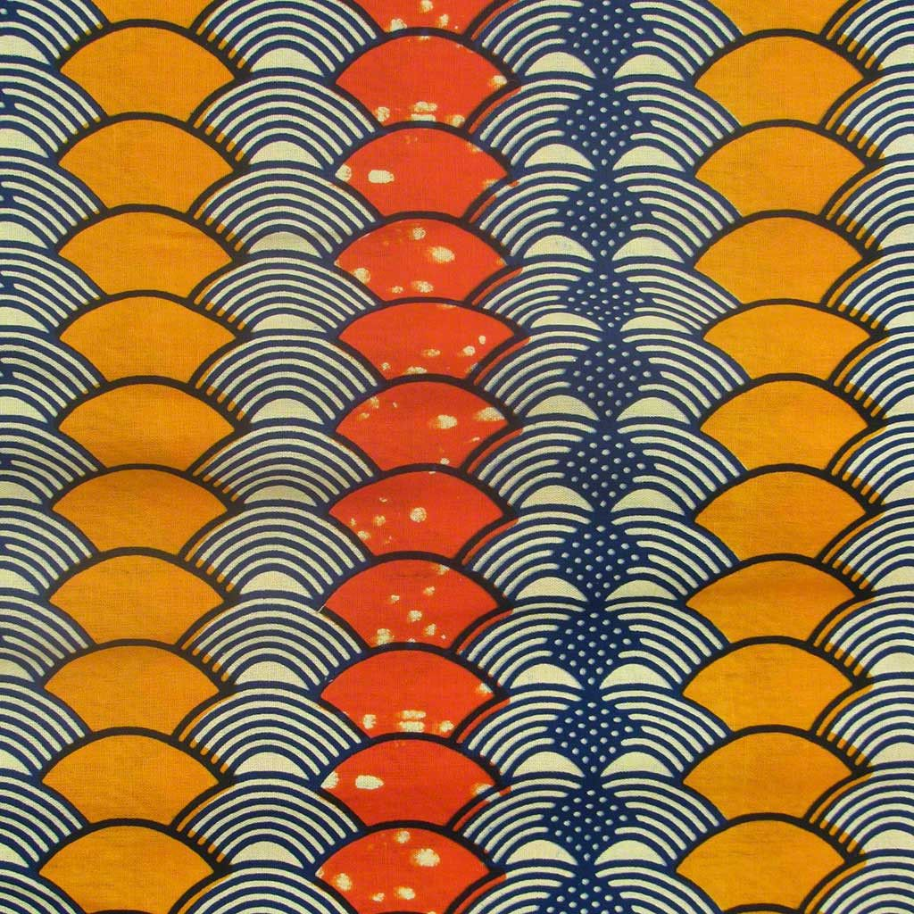 African Wax Print Fabric #218                                                                                                                                                      More -The pattern, lines, and repeated colours are an example of rhythm and repetition.