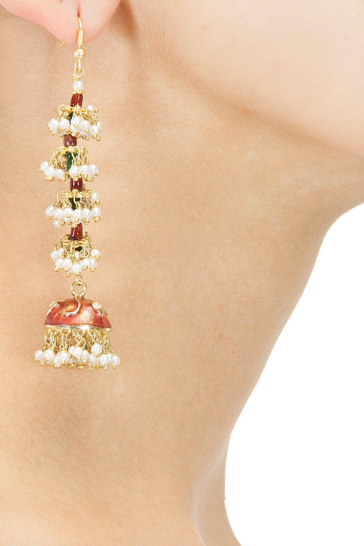 Pearl and meena long jhumki earrings BY ART KARAT Shop now at